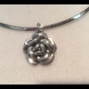 Silver Rose Slide Necklace EUC